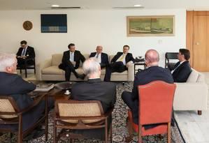 Reunião do presidente Jair Bolsonar com os presidentes de partidos no Palácio do Planalto Foto: Marcos Correa / Presidência