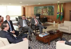 O presidente Jair Bolsonaro durante audiência com o presidente nacional do PSDB, Geraldo Alckmin. Foto: Marcos Correa / PR