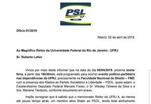 Ofício enviado pelo PSL à UFRJ Foto: Reprodução