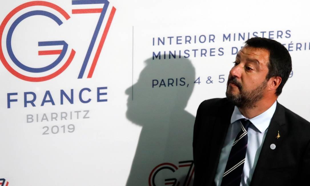 Vice-premier italiano, Matteo Salvini, participa de uma reunião de dois dias dos ministros do Interior do G7 em Paris Foto: CHARLES PLATIAU / REUTERS
