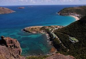 Vista aérea da praia de Flamands, em St. Barth, no Caribe Foto: Danielle La Rocco / The New York Times