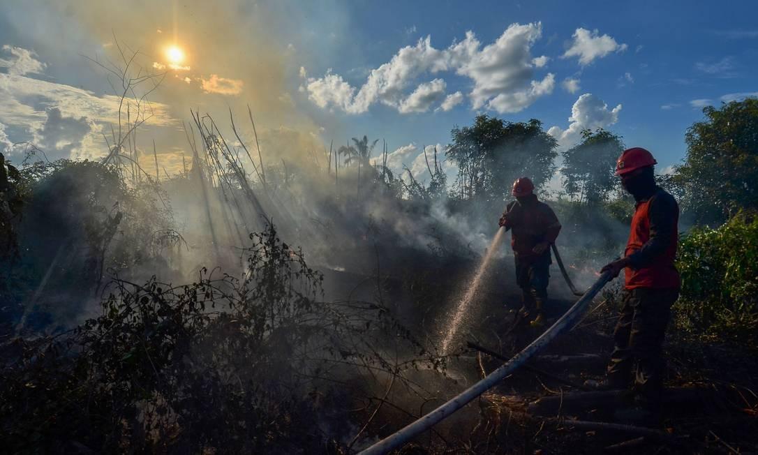 Bombeiros combatem incêndio na aldeia de Karya Indah, em Kampar, na província de Riau, na Indonésia Foto: WAHYUDI / AFP
