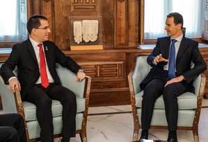 O chanceler venezuelano, Jorge Arreaza, se reúne com Assad em Damasco Foto: - / AFP