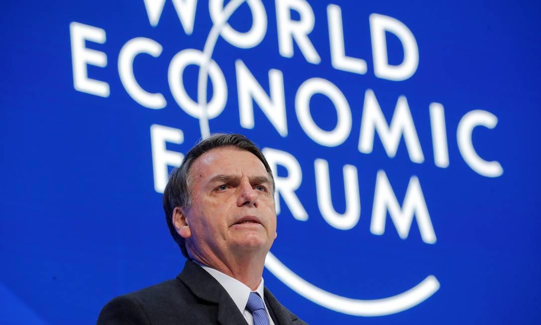 Em 21 de janeiro, Bolsonaro chegou a Davos, na Suíça, para participar do Fórum Econômico Mundial, sua primeira agenda no exterior. O presidente fez um discurso vago, com promessas econômicas liberais e cancelou uma entrevista coletiva Foto: Arnd Wiegmann / Reuters