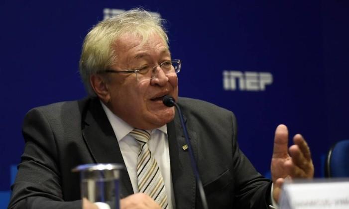 Ex-presidente do Inep, Marcus Vinícius Rodrigues, durante entrevista coletiva Foto: Andre Souza / MEC/31-01-2019