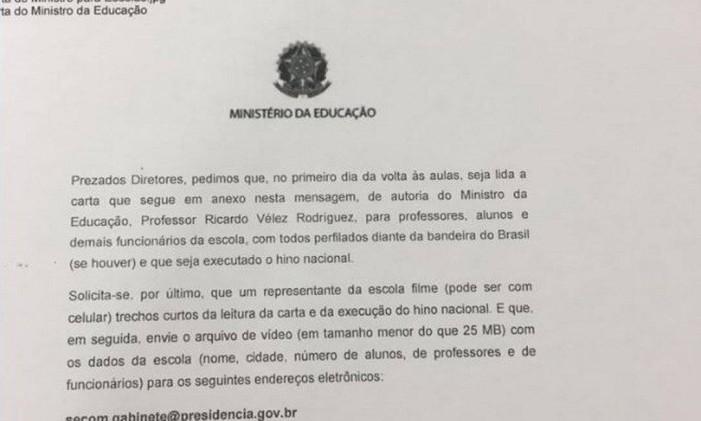 Carta endereçada pela assessoria de comunicação do Ministério da Educação aos diretores de escolas públicas Foto: Reprodução
