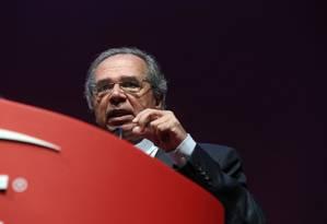 O ministro da Economia, Paulo Guedes, durantre encontro empresarial do grupo Lide Foto: Amanda Perobelli / Reuters