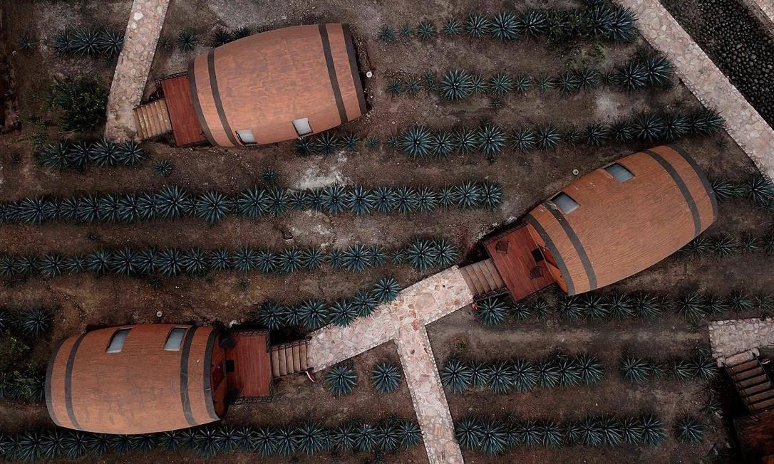 Mais uma vista aérea que mostra os barris gigantes entre as plantas usadas para a produção da tequila Foto: ULISES RUIZ / AFP