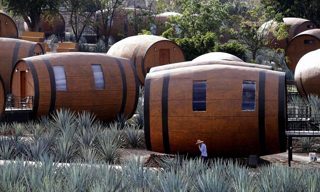 Os quartos são revestidos de carvalho, a mesma madeira presente nas barricas utilizadas para o envelhecimento da tequila Foto: ULISES RUIZ / AFP