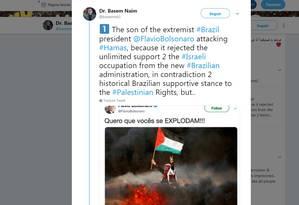 Em tuíte, Basem Naim, representante do Hamas, rebate Flávio Bolsonaro Foto: Reprodução do Twitter