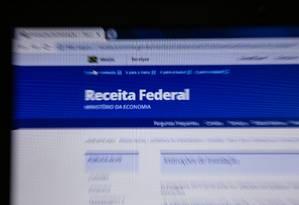 Site da Receita Federal Foto: Brenno Carvalho / Agência O Globo
