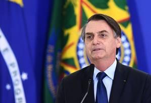 Presidente Jair Bolsonaro faz discurso no Palácio do Planalto em Brasília Foto: EVARISTO SA / AFP/05-04-2019