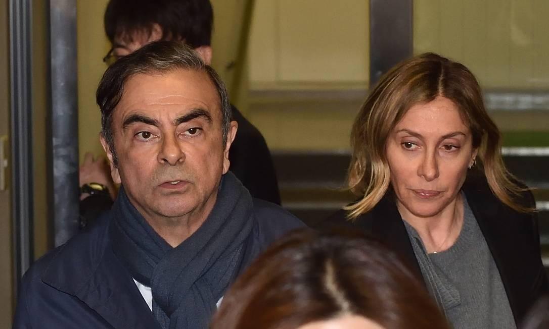 O casal Carlos e Carole Ghosn Foto: Kazuhiro Nogi / AFP