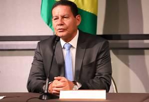 Vice-presidente da República, Hamilton Mourão em evento com comunidade brasileira em Boston Foto: ROMERIO CUNHA / Divulgação