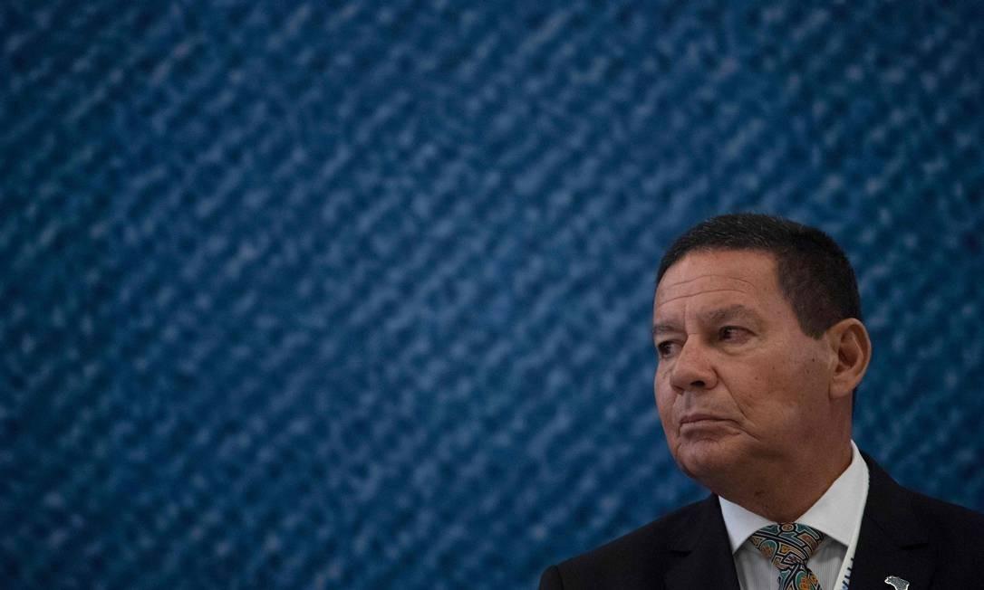 O vice-presidente Hamilton Mourão participa de evento no Riocentro Foto: MAURO PIMENTEL / AFP