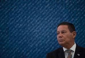 O vice-presidente Hamilton Mourão durante evento no Riocentro Foto: Mauro Pimentel / AFP