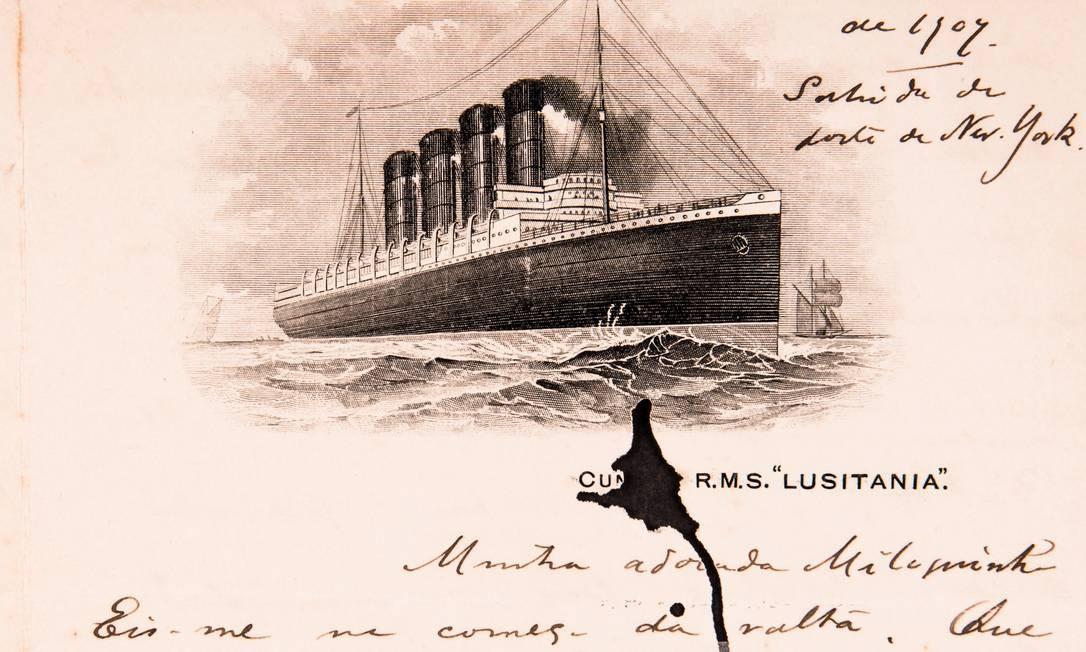 Cartão de 1907 escrito à bordo do Lusitania, navio que seria torpedeado por alemães anos mais tarde Foto: Jeferson Mendonça / Divulgação
