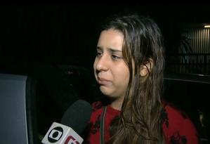 Ingrid Araújo, filha de uma das vítimas de deslizamento no Morro da Babilônia Foto: Reprodução | TV Globo