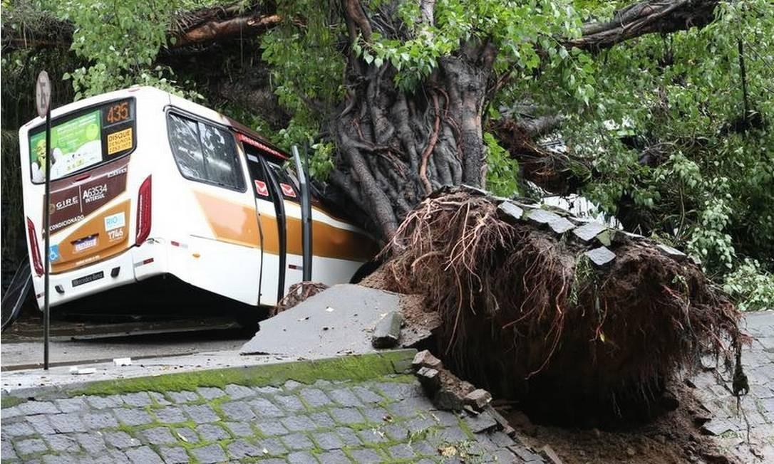 Um dos ônibus atingido pela árvore que caiu na Av.Visconde de Albuquerque, no Leblon Foto: Pedro Teixeira - Agência O Globo