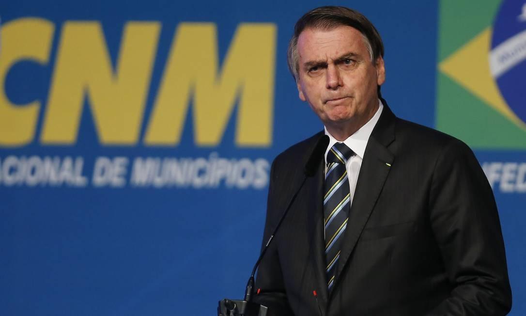 Presidente Jair Bolsonaro participa da sessão Solene de Abertura da XXII Marcha a Brasília em Defesa dos Municípios, em Brasília Foto: Jorge William / Agência O Globo
