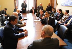 Vice-presidente brasileiro, Hamilton Mourão se reúne com senadores americanos em Washington Foto: 09-04 / Reprodução/Twitter