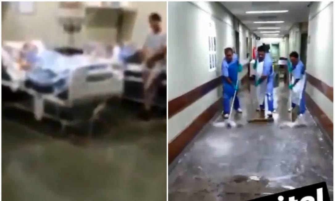 Hospital Lourenço Jorge, na Barra, foi afetado pela chuva Foto: Reprodução