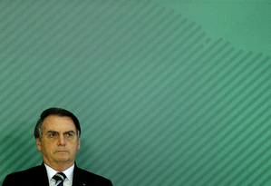 Presidente Jair Bolsonaro ontem em Brasília Foto: Jorge William / Agência O Globo