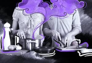 Muita gente se sente pressionada a seguir as normas de gênero, o que ajuda a explicar por que homens e mulheres tendem a ser excessivamente confiantes em relação a práticas diferentes Foto: Arte de Lari Arantes sobre foto Pixabay