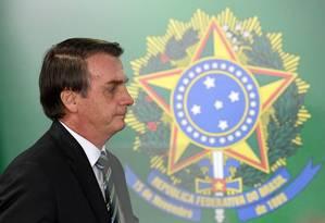 O presidente Bolsonaro em Brasília: almoço com embaixadores de países islâmicos Foto: EVARISTO SA / AFP