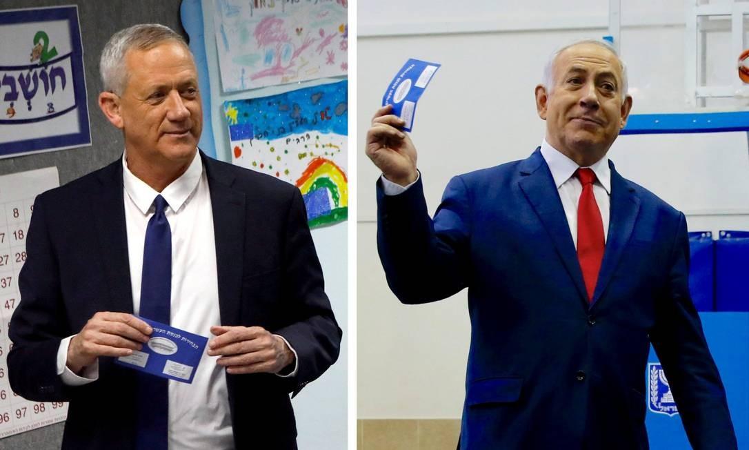 Montagem mostra Gantz e Natanyahu votando nesta terça: disputa apertada Foto: NIR ELIAS/REUTERS