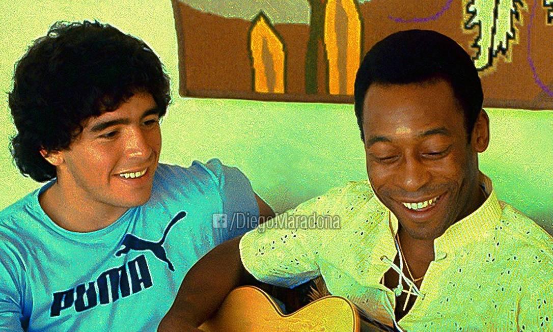 Entre provocações saudáveis, Pelé e Maradona mantêm amizade Foto: Facebook/Diego Maradona