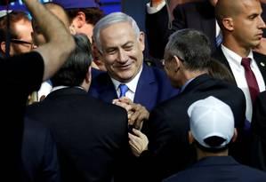 Primeiro-ministro israelense, Benjamin Netanyahu celebra resultado eleitoral na sede do Likud Foto: RONEN ZVULUN 10-04-2019 / REUTERS