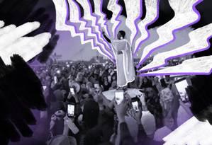 Foto tirada por celular mostra mulher de branco discursando e cantando para a multidão Foto: Ilustração de Lari Arantes sobre resprodução da internet