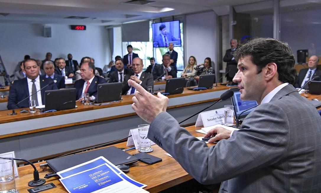O ministro do Turismo, Marcelo Álvaro Antônio, em audiência pública no Senado Foto: Geraldo Magela / Geraldo Magela/Agência Senado