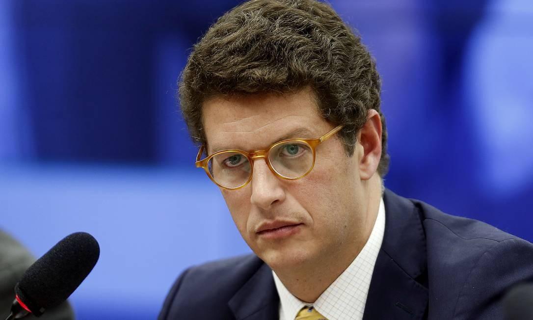 O ministro do Meio Ambiente, Ricardo Salles, participa de audiência em comissão da Câmara. Foto: Jorge William / Agência O Globo
