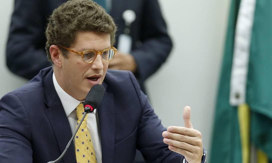 O ministro do Meio Ambiente, Ricardo Salles, durante audiência pública em comissão da Câmara Foto: Jorge William / Agência O Globo