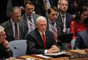 O vice-presidente Mike Pence fala durante discurso no Conselho de Segurança da ONU sobre a Venezuela: pressão para saída de Maduro Foto: BRENDAN MCDERMID / REUTERS
