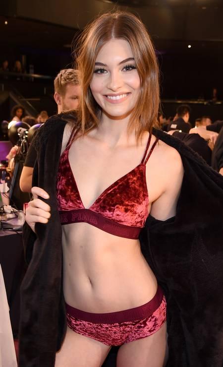Grace Elizabeth para a Victoria's Secret Foto: Kevin Mazur / Getty Images for Victoria's Secr