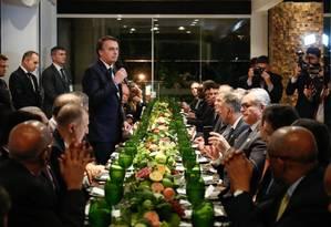 O presidente Jair Bolsonaro durante durante jantar com embaixadores de países islâmicos Foto: Alan Santos/Presidência da República / Agência O Globo