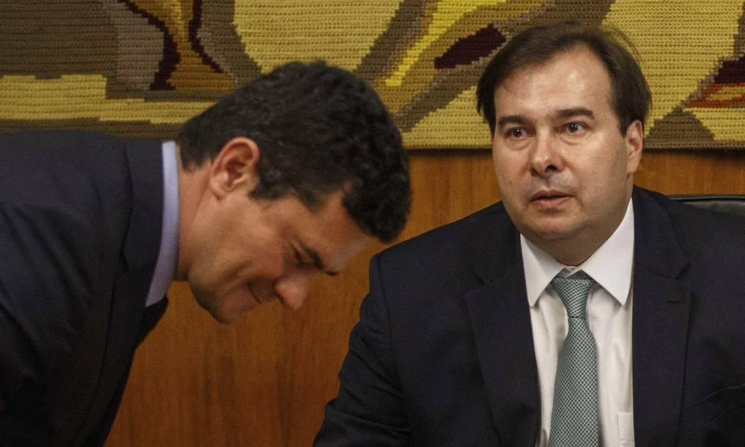 Agora ministro, Sergio Moro foi publicamente criticado por Rodrigo Maia, e seu pacote anticrime foi considerado insuficiente para melhorar a segurança pública. Foto: Daniel Marenco / Agência O Globo