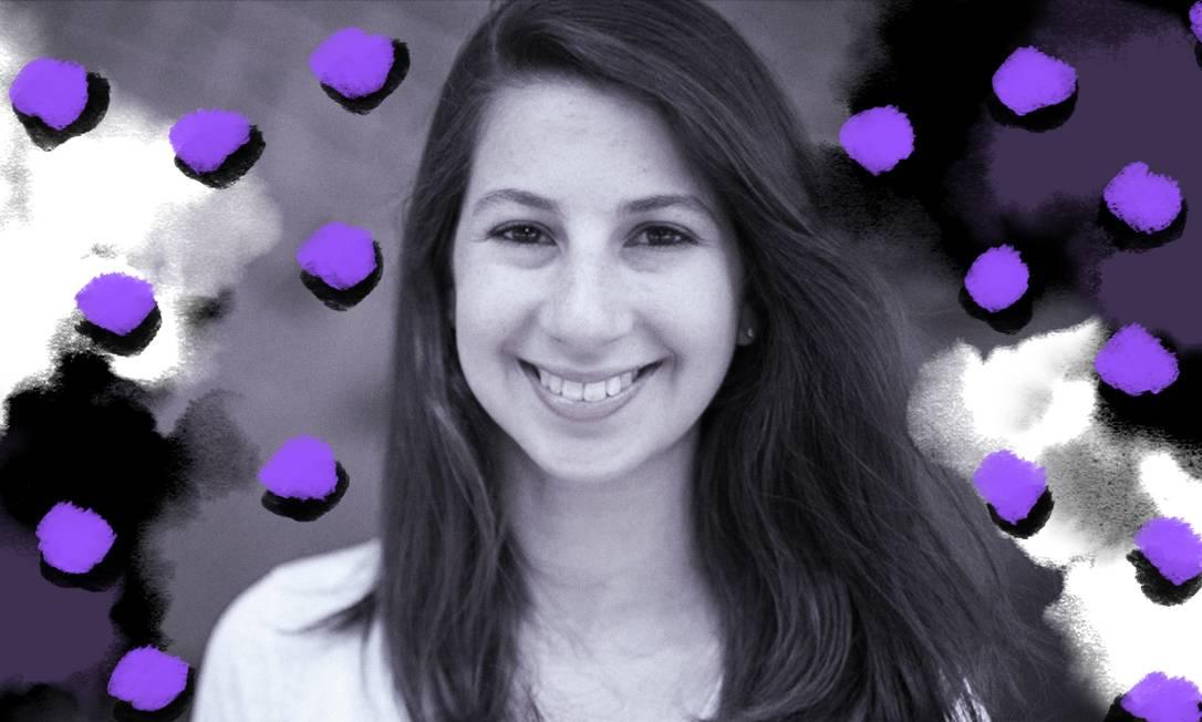 Katie Bouman faz pós-doutorado no MIT e é professora da Caltech, ambas prestigiadas universidades dos EUA Foto: Ilustração de Lari Arantes sobre foto de Reprodução/Twitter/MIT