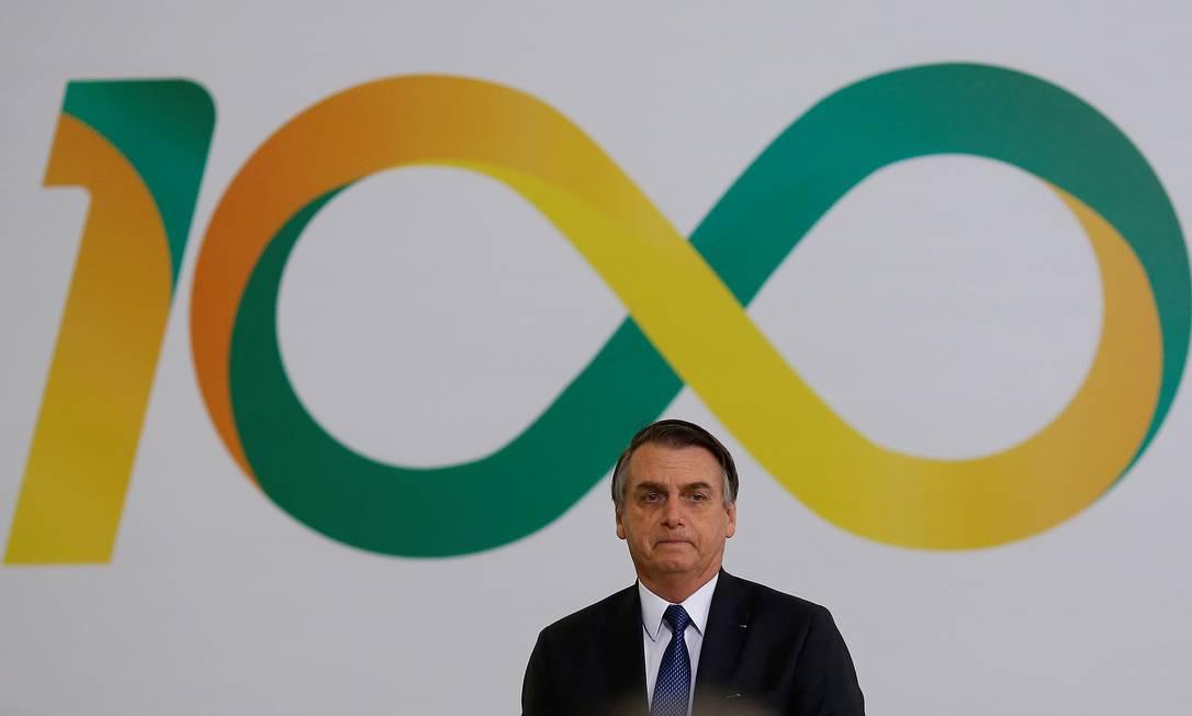O presidente Jair Bolsonaro na cerimônia dos 100 dias de governo Foto: Adriano Machado / Reuters