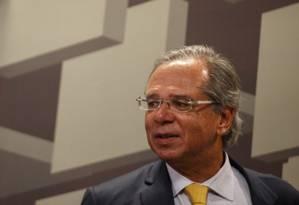 Guedes diz que governo trabalha em três principais frentes do ponto de vista econômico: controle de gastos, acelerar privatizações e conter salários do funcionalismo. Foto: Daniel Marenco - Agência O Globo