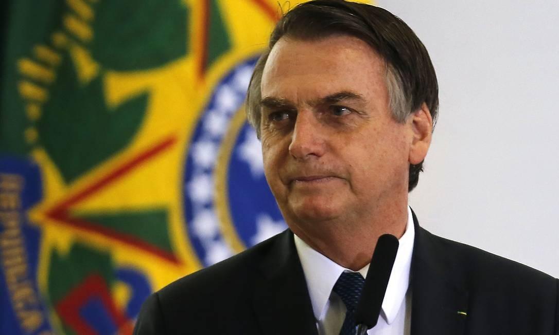 O presidente Jair Bolsonaro na solenidade alusiva aos 100 dias de governo, no Palácio do Planalto Foto: Jorge William / Agência O Globo