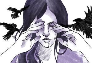 X. sofria abusos do padrasto, um militar licenciado, enquanto a mãe, enfermeira, trabalhava em turnos de 24 e até 48 horas seguidas Foto: Arte de Lari Arantes