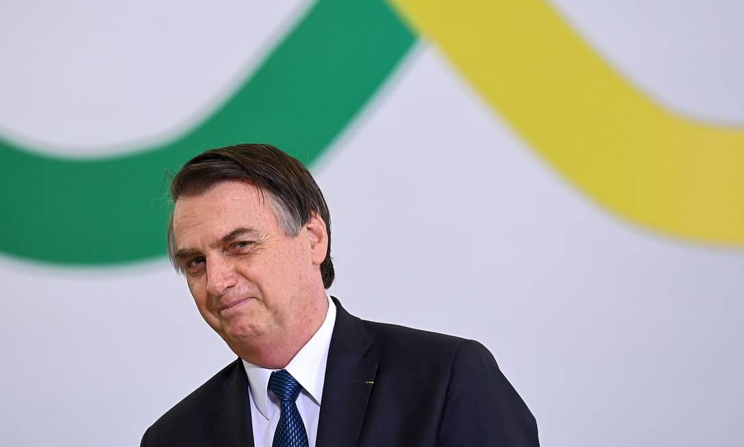 Presidente Jair Bolsonaro durante cerimônia que marcou os 100 primeiros dias de seu governo Foto: EVARISTO SA / AFP