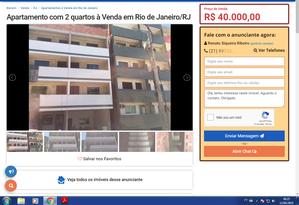 Imagem dos edifícios do Condomínio Figueira do Itanhangá antes do desabamento, em anúncio imobiliário na internet Foto: Reprodução / Reprodução