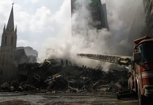 O edifício Wilton Paes de Almeida desabou durante um incêndio em maio do ano passado Foto: Parceiro / Agência O Globo