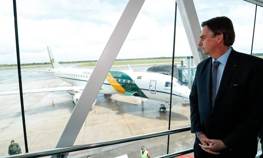 O presidente Bolsonaro durante cerimônia de inauguração do Aeroporto Internacional de Macapá Foto: Alan Santos/PR