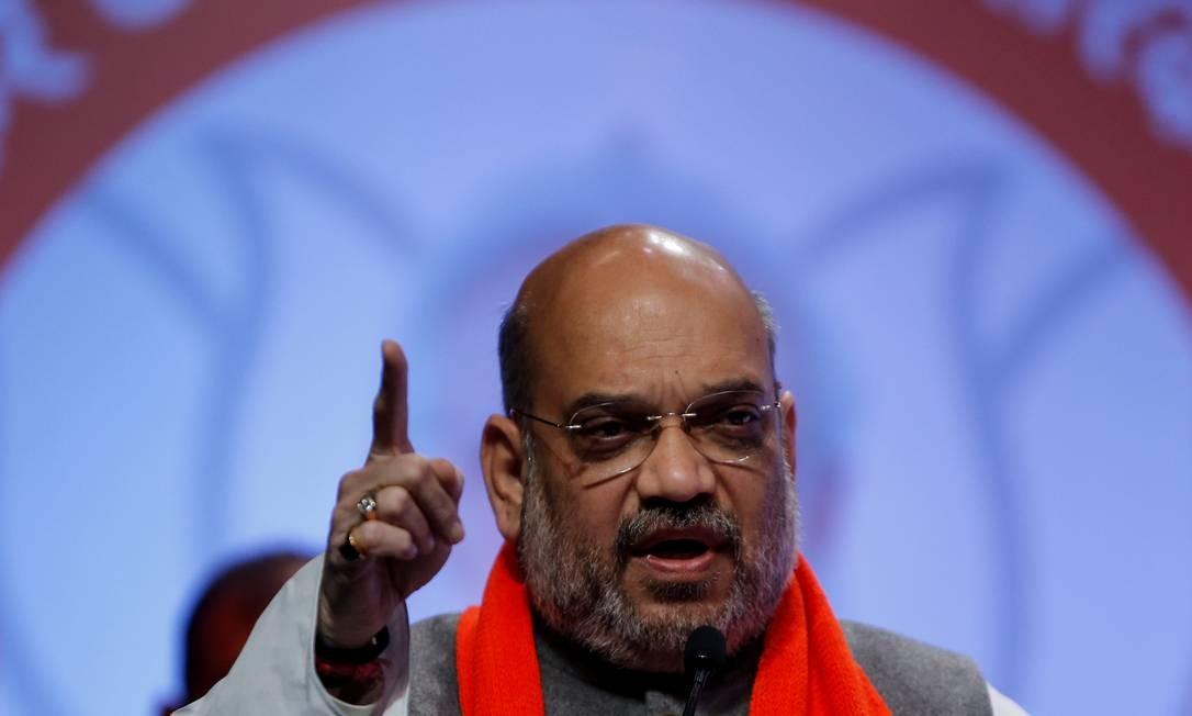 Amit Shah, presidente do BJP, durante discurso em Ahmedabad Foto: Amit Dave / REUTERS